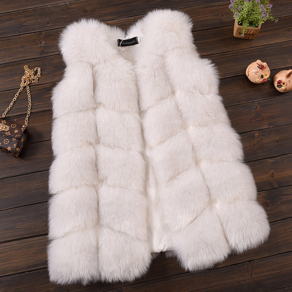 Faux Fur Ribbed Vest - White