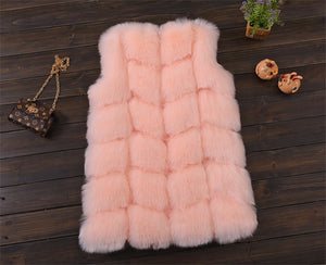 Faux Fur Ribbed Vest - Peach