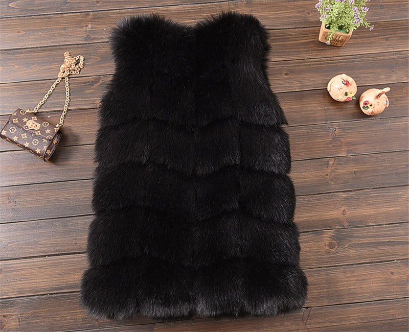 Faux Fur Ribbed Vest - Black