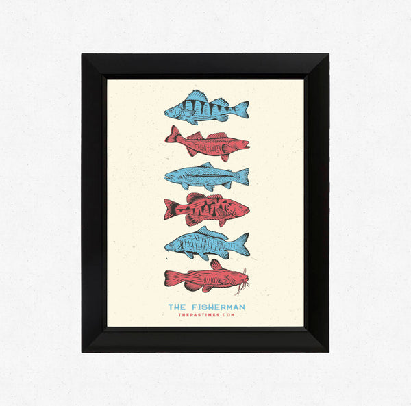 Red White & Fish Print 11x14