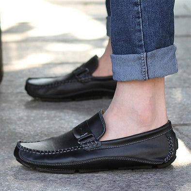 Genuine Men's Flat Leather Loafers - Glosence