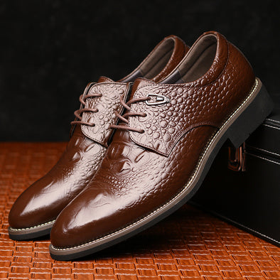 Men's Oxford, Alligator Pattern Lace-up Leather Shoes - Glosence