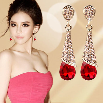 Crystal Water Drop Long Earrings - Glosence