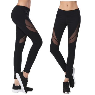 Women's High Waist Yoga Patchwork Mesh Pants - Glosence