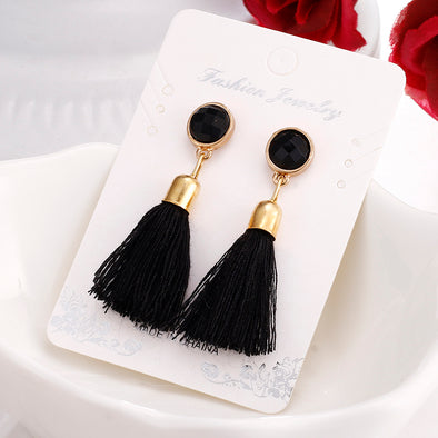 Hot Earrings Black Retro Tassel - Glosence