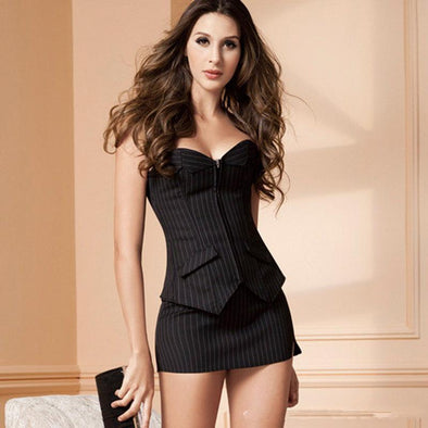 Sexy Black Corset Office Lady Wear - Glosence