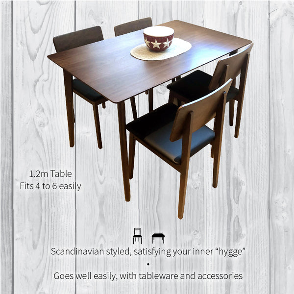 Scandinavian style, easy to match, 1.2m table, fits 4 to 6