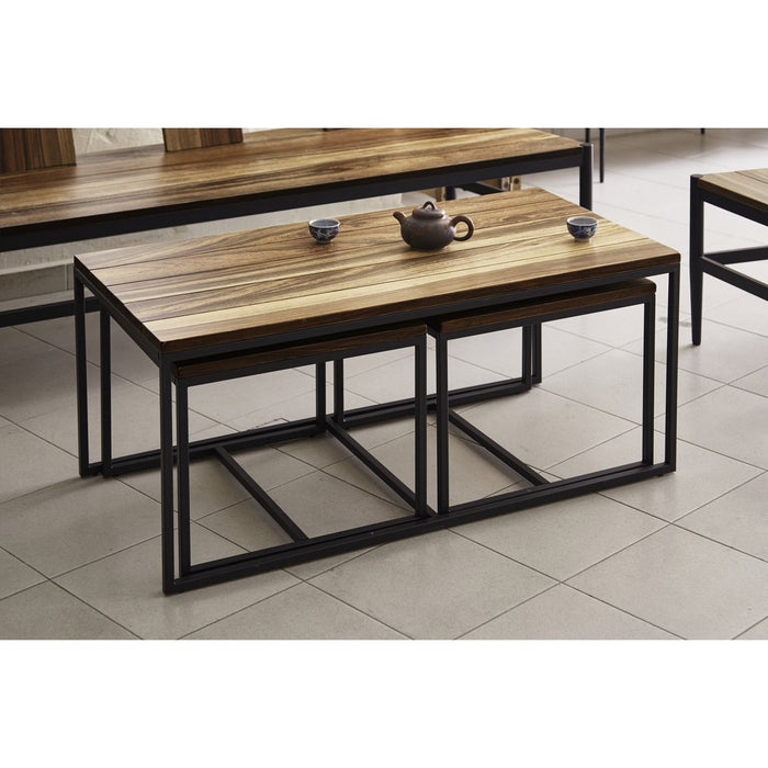 JACOB 3 in 1 Solid Wild Almond Wood Coffee Table Set  sc 1 st  CaseyTiam & JACOB 3 in 1 Solid Wild Almond Wood Coffee Table Set \u2014 CaseyTiam