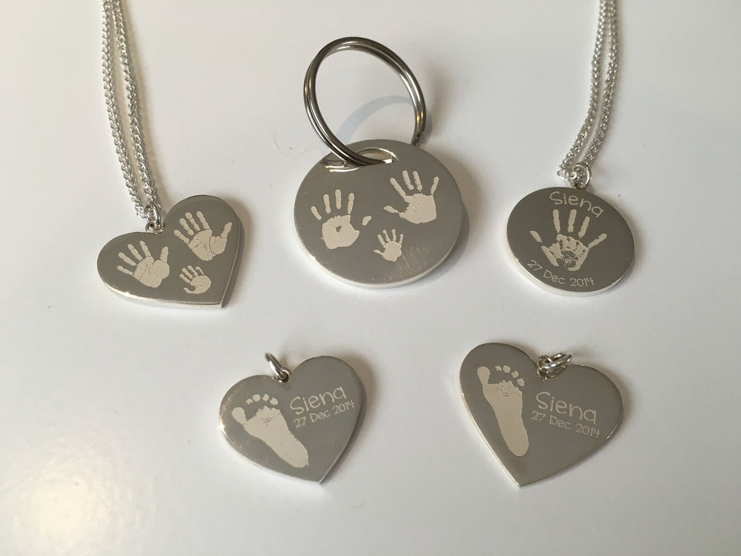 Disc Hand, Foot, Finger and Paw Print Engraving