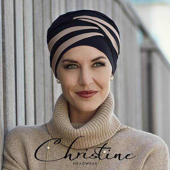 Christine Headwear Shanti Turban Black/Taupe