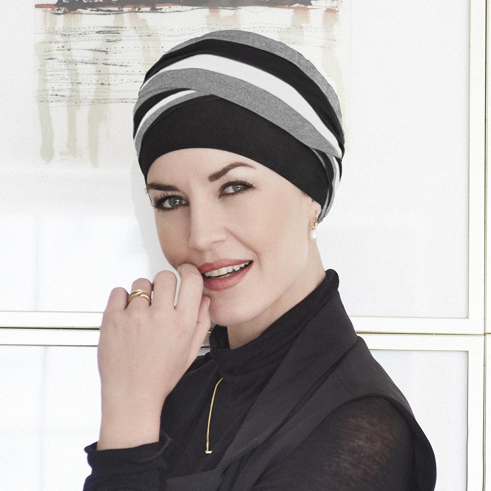 Christine - Shanti Turban - Grey/Black/Ivory