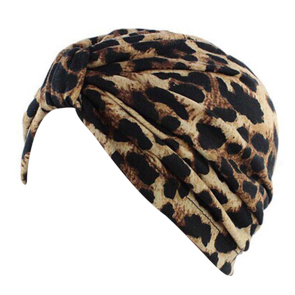 Krista Leopard Print Slip on Turban Chemo Hat