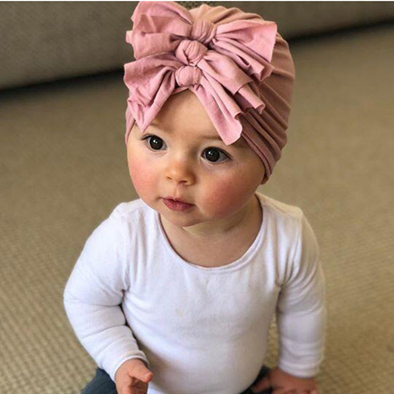 SOFT KNOT 3 BOW TURBAN HAIR HEAD WRAP BY CHEMO HATS - 0-5 YEARS