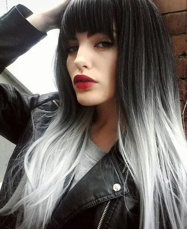 Synthetic Long Wig Black & Grey with Bangs - High Temperature Fibre