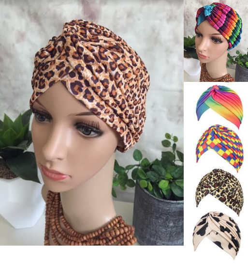 Gaga Bright Colourful Style Soft Silky Slip On Cancer hat Turban by Chemo hats