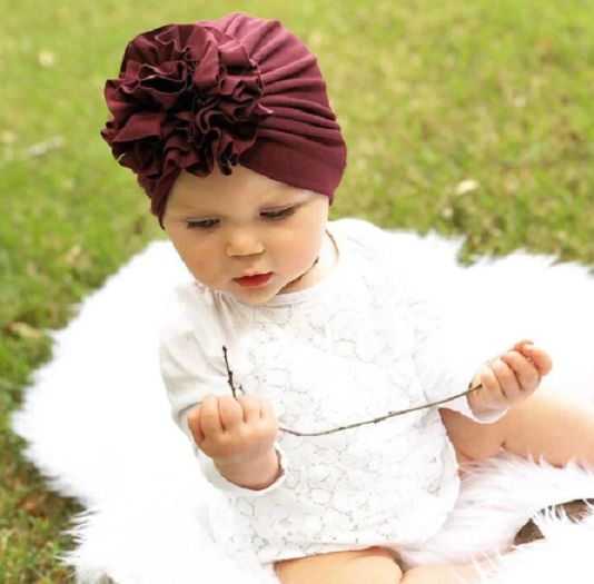 FLOWER BLOOM TURBAN HEAD WRAP BY CHEMO HATS - 0-5 YEARS