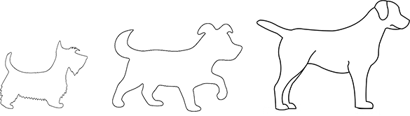 Outlines of various sized dogs