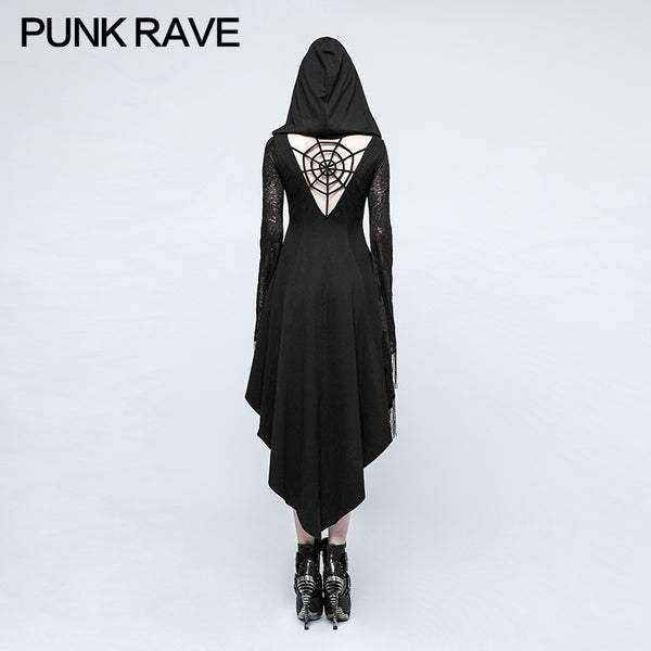 Punk Rave Gothic Dress With Back Spider Net Armour Amour