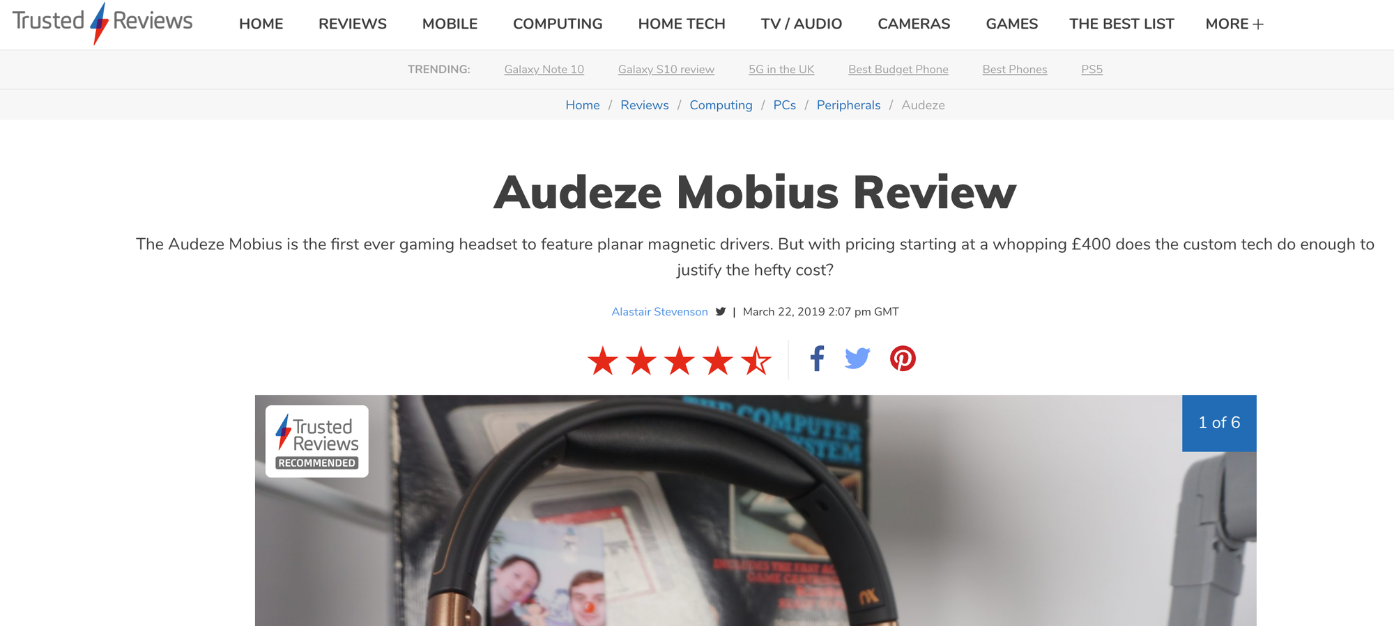 "Trusted Review - ""Hands-down the best sound gaming headset we've ever tested"""