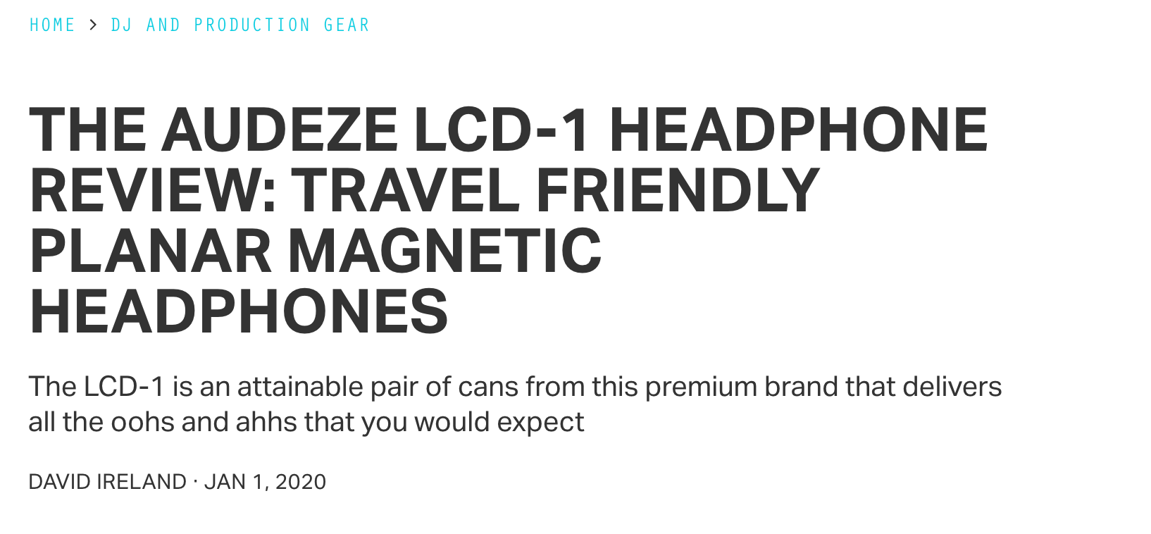 Magnetic Magazine reviews the Audeze LCD-1 Headphone!