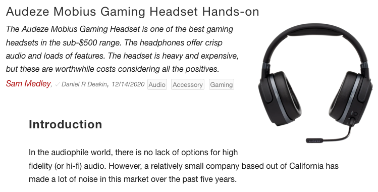 """Best audio purchase gamers can make"" Says NoteBookCheck about Audeze Mobius"