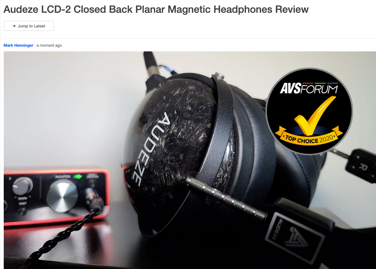 LCD-2 Closed Back Awarded Top Choice Badge from AVS Forum