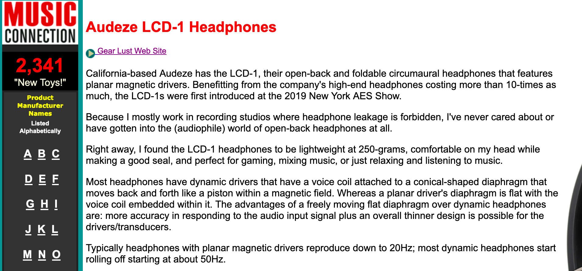 """My very first pair of open-back, planar driver headphones, and it's an awesome experience!"" Says Music Connection About Audeze LCD-1"