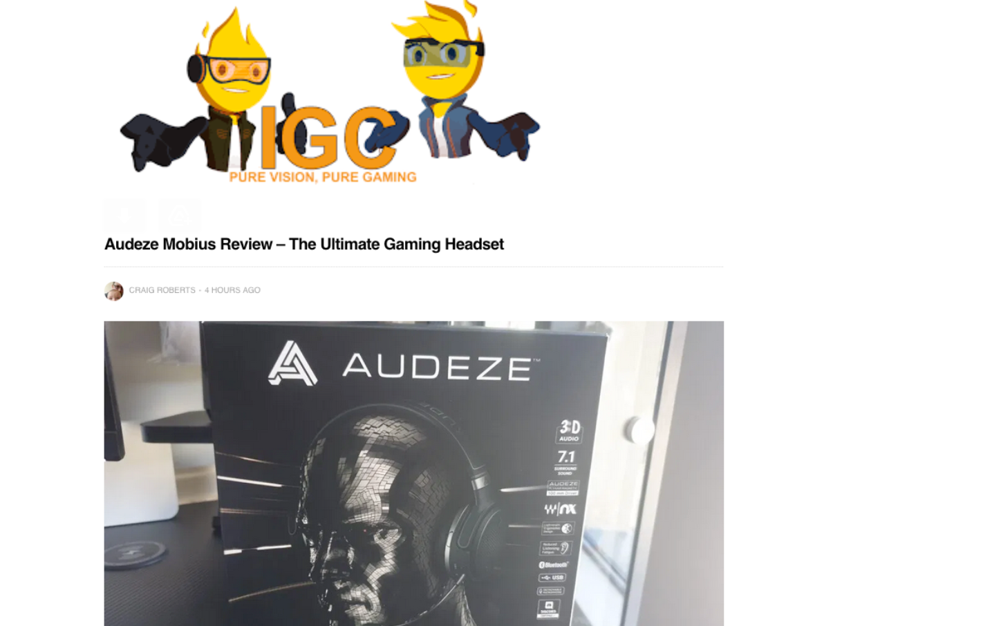 """The best gaming headset I have ever had the opportunity to own and review"" says IGC of Audeze Mobius"