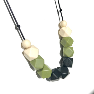 Olive and black teething necklace