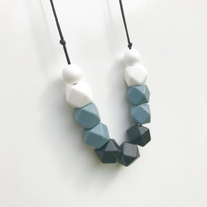 grey and white teething necklace