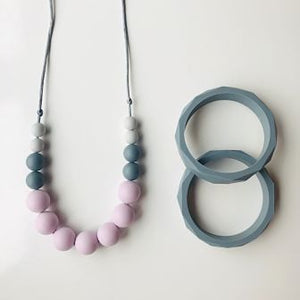 Pink & Grey Betty Teething Necklace