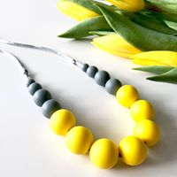 Yellow & Grey Teething Necklace