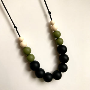 Olive & Black Teething Necklace