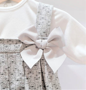 Three Bears grey pinafore dress set