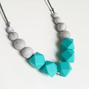 mint grey teething necklace