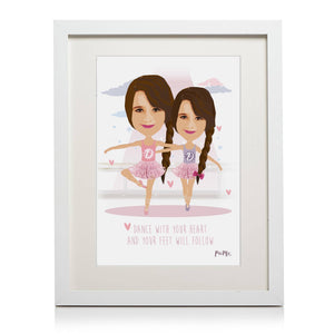 Twin Dancers Themed Personalised Framed Print