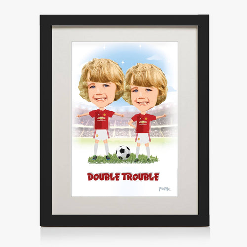 Footballer Themed Persoalised Print - Duo