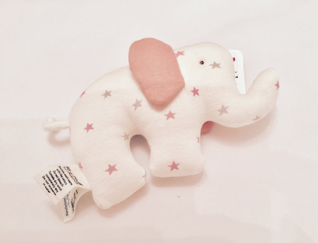 Handmade Organic Cotton Elephant Baby Rattle