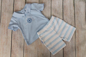 Boys Blue Striped Shorts Set