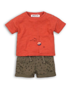 Boys Orange Tee & Shorts Set
