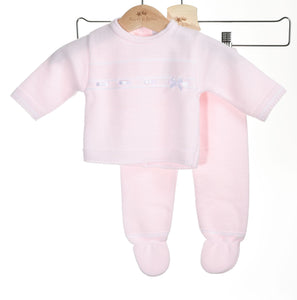 pink knitted baby two piece set