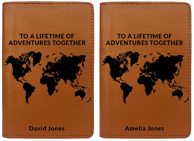 To A Lifetime Of Adventures Together World Map (Passport Holder) - Set of 2