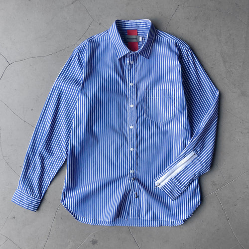 Beautilities Utility Zip Shirt Blue Stripes V2