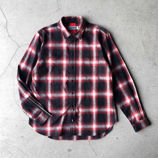 Beautilities Utility Zip Shirt Red Hombre Check V2