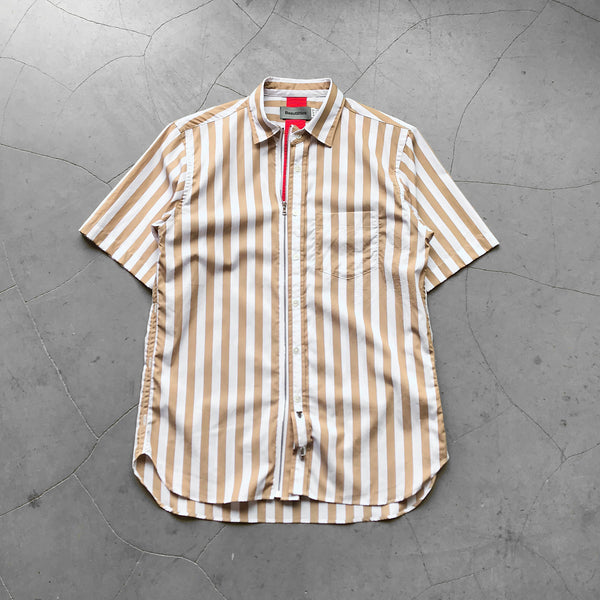 Beautilities Utility Zip Short Sleeve Shirt Wide Brown Stripe