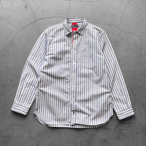 Beautilities Utility Zip Shirt White x Blue Stripe