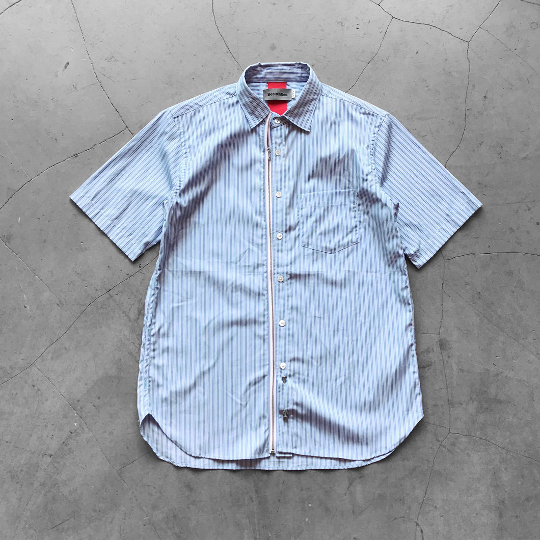 Beautilities Utility Zip Short Sleeve Shirt Aqua Blue Stripe