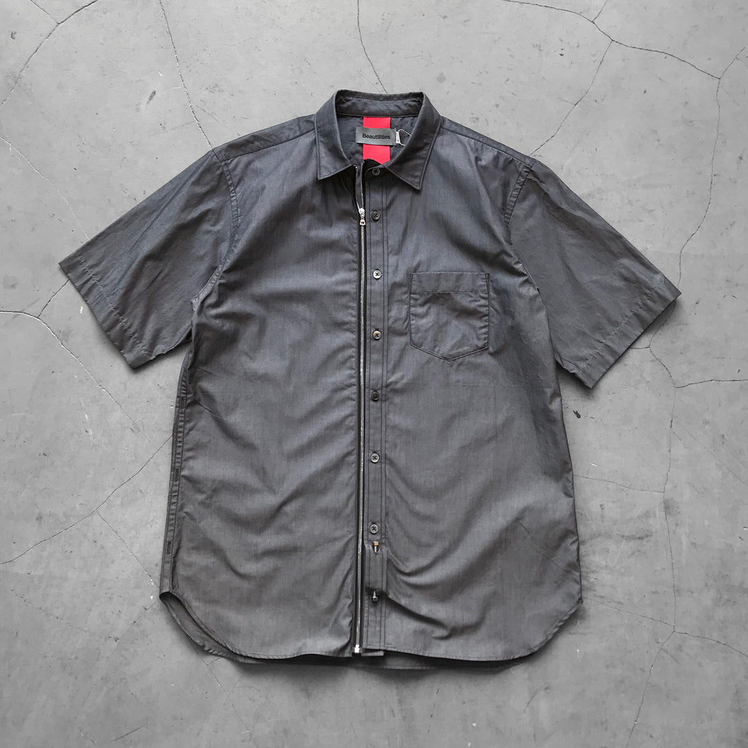 Beautilities Utility Zip Short Sleeve Shirt Dark Grey