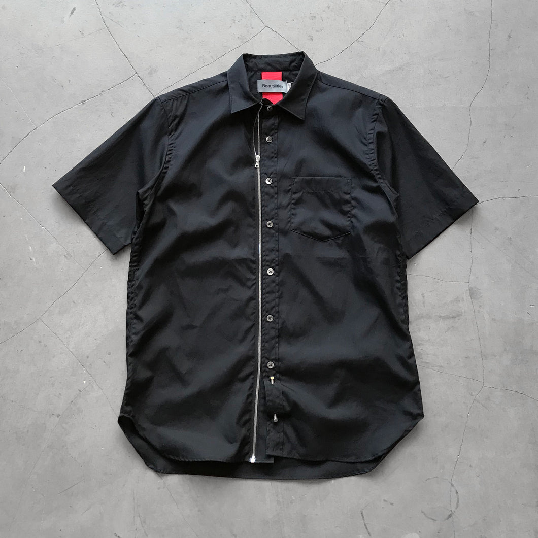 Beautilities Utility Zip Short Sleeve Shirt Black