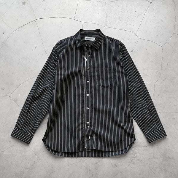 Beautilities Utility Zip Shirt Black x White Stripe